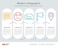 Comment infographics design. Infographics design  and comment, sad, homefire, sound, location pin icons can be used for workflow layout, diagram, annual report Stock Image