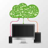 Infographics. Design concept of cloud with icons. Network. Vector Royalty Free Stock Photography