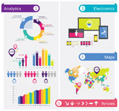 Infographics design elements, infographic template. Vector infographic illustration with charts, maps, arrows, tags and other design elements Stock Photo