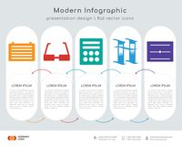 File infographics design. Infographics design  and File, Glasses, Calculator, Book, Diploma icons can be used for workflow layout, diagram, annual report, web Stock Photos