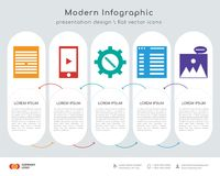 Files infographics design. Infographics design  and Files, Smartphone, Settings, Browser, Image icons can be used for workflow layout, diagram, annual report Stock Photography