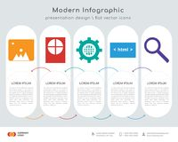 Folder infographics design. Infographics design  and Folder, Hard drive, Settings, Html, Search icons can be used for workflow layout, diagram, annual report Stock Photography