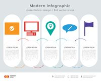 Folder infographics design. Infographics design  and Folder, Monitor, Gps, Chat, Flag icons can be used for workflow layout, diagram, annual report, web design Royalty Free Stock Image