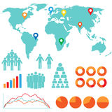 Infographics and design icons. And world map Royalty Free Stock Photos