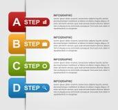 Infographics design med kulöra pappers- bokmärker Arkivfoto