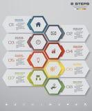 Infographics design med timelinen för 8 moment för din presentation Arkivfoto