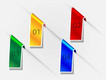 Infographics design numered banners. A set of four numered banners - yellow, red, blue, green EPS10 Royalty Free Stock Images