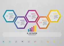 Infographics design with 5 steps timeline chart. EPS 10. Infographics design with 5 steps timeline for your presentation. EPS 10 vector illustration