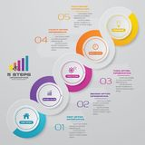 Infographics design with 5 steps timeline for your presentation. EPS 10 stock illustration