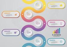 Infographics design with 5 steps timeline for your presentation. EPS 10 royalty free illustration