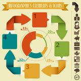 Infographics Design Template. With Arrows, Pie Chart and Icons, vector Stock Image