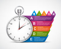 Infographics design template. Clock with colored ribbons. Vector illustration Royalty Free Stock Images