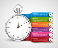 Infographics design template. Clock with colored ribbons. Vector illustration Royalty Free Stock Image