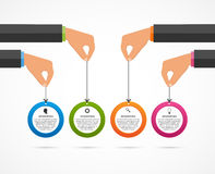 Infographics design template. Human hands holding the circle banners. Stock Photography