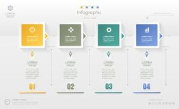 Infographics design template with icons, process diagram, vector Stock Photography