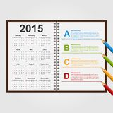 Infographics design template. Open notebook with calendar and schedule. Stock Photo