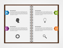 Infographics design template. Open notebook with colorful ribbon. Stock Image