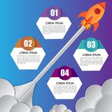 Infographics design template rocket or spaceship launches through the clouds with icons flying up 4 options elements arranged stock illustration