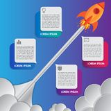 Infographics design template rocket or spaceship launches through the clouds with icons flying up 4 options elements arranged stock photography