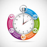 Infographics design template. Stopwatch with a circular arrow and the clock inside. Stock Photos