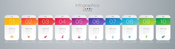 Infographics design vector and business icons with 10 options. Infographics design vector and marketing icons can be used for workflow layout, diagram, annual stock illustration