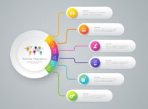 Infographics design vector and business icons with 6 options. Vector Illustration