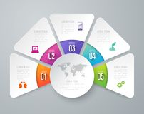 Infographics design vector and business icons with 5 options. Infographics design vector and marketing icons can be used for workflow layout, diagram, annual stock illustration