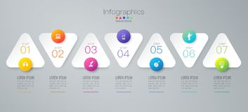 Infographics design vector and business icons with 7 options. Infographics design vector and marketing icons can be used for workflow layout, diagram, annual royalty free illustration