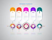 Infographics-Designschablone mit Aufkleber und Technologie des Papiers 3D Stockfoto