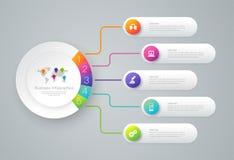 Infographics-Designvektor- und -geschäftsikonen mit 5 Wahlen vektor abbildung
