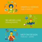 Infographics determinado del vector del plano del concepto de las profesiones del proceso de diseño Fotos de archivo libres de regalías