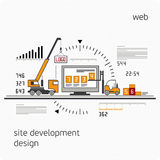 Infographics development site. Site Development, Experienced Team - Vector Illustration, Graphic Design, Editable For Your Design. Vector illustration Stock Image