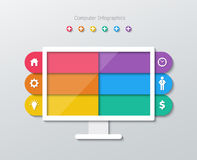 Infographics di carta del computer Immagine Stock