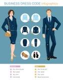 Infographics di codice di abbigliamento di affari Fotografie Stock
