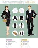Infographics di codice di abbigliamento di affari Fotografie Stock Libere da Diritti