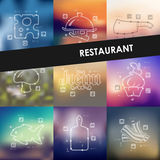 Infographics di cronologia del ristorante con vago Immagine Stock Libera da Diritti