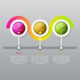 Infographics di cronologia di tre punti Immagini Stock