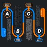 Infographics di forma del serpente, fondo scuro illustrazione vettoriale
