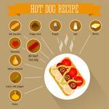Infographics di ricetta del hot dog Immagine Stock