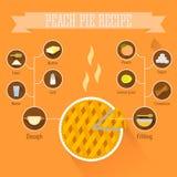 Infographics di ricetta della torta della pesca Fotografia Stock