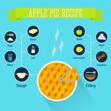 Infographics di ricetta della torta di mele Fotografie Stock Libere da Diritti