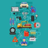 Infographics di servizio dell'automobile Fotografia Stock