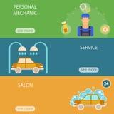 Infographics di servizio dell'automobile e di vettore del lavaggio Fotografia Stock Libera da Diritti