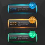 Infographics di vetro d'ardore variopinto di vettore Fotografie Stock