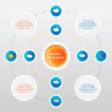 Infographics di vettore con le icone di previsioni del tempo fotografia stock libera da diritti