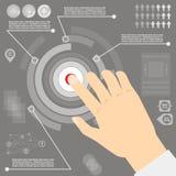 Infographics di vettore con stile piano della mano Immagini Stock