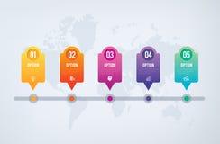 Infographics-Diagramm - Reihenfolge mit 5 Schritten zum Erfolg Lizenzfreie Stockfotos