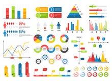 Infographics-Diagrammsatz Diagramme resultieren grafisch darstellt Ikonenstatistik-Finanzdatendiagramme Lokalisierte Analysevekto lizenzfreie abbildung