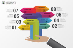 Infographics Die goldene Taste oder Erreichen für den Himmel zum Eigenheimbesitze Bunte Pfeile mit Ikonen Vektor Lizenzfreie Stockbilder