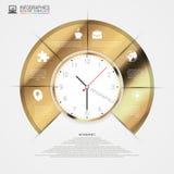 Infographics Die goldene Taste oder Erreichen für den Himmel zum Eigenheimbesitze Bunter Kreis mit Ikonen Vektor Lizenzfreie Stockbilder